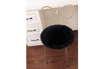 (Black) - LOCHAS Super Soft Round Seat Cushion Faux Fur Sheepskin Chair Cover Pad Plush Rugs for Living Bedroom Sofa Couch, 46cm x 46cm Black