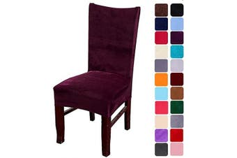 (6, Dark Purple) - smiry Velvet Stretch Dining Room Chair Covers Soft Removable Dining Chair Slipcovers Set of 6, Dark Purple