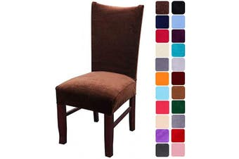 (2, Coffee) - smiry Velvet Stretch Dining Room Chair Covers Soft Removable Dining Chair Slipcovers Set of 2, Coffee