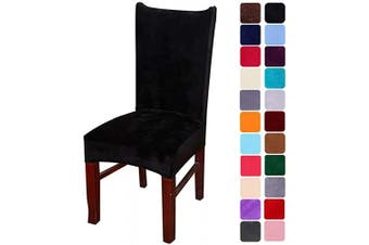 (2, Black) - smiry Velvet Stretch Dining Room Chair Covers Soft Removable Dining Chair Slipcovers Set of 2, Black