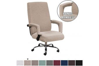 (Medium, Sand) - H.VERSAILTEX Office Chair Covers Stretchable Rotating Armchair Slipcover Removable Stretch Computer Office Chair Cover Featuring Jacquard Textured Twill Fabric for Medium Back Office Chair, Sand