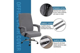 (Large, Gray) - H.VERSAILTEX Office Chair Covers High Back Slipcovers Stretch Furniture Cover Lycra Spandex Jacquard Fabric Super Soft, Skid Resistant Office Computer Chair Cover with Arm Covers, Large, Grey