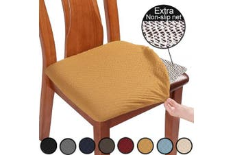 (6pcs, Ocher) - BUYUE Chair Covers for Dining Room Washable Jacquard Stretch Slipcover Kitchen Seat Cushions Protector for Upholstered Chair - Set of 6, Ocher