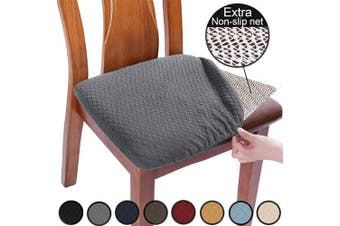 (2pcs, Gray) - BUYUE Non Slip Chair Covers for Dining Room Washable Jacquard Stretch Slipcover Kitchen Seat Cushions Protector for Upholstered Chair - Set of 2, Grey