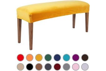 (Mustard Yellow) - Colorxy Velvet Bench Covers for Dining Room - Stretch Spandex Upholstered Bench Slipcover Rectangle Removable Washable Bench Furniture Seat Protector for Living Room, Bedroom, Kitchen (Mustard Yellow)
