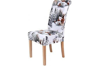 (4, Watercolor Winter Deers Landscape) - Colorxy Stretch Dining Room Chair Cover Spandex Removable Washable Floral Printing Chair Slipcover for Kitchen Living Room, Watercolour Winter Landscape with Deers, Set of 4