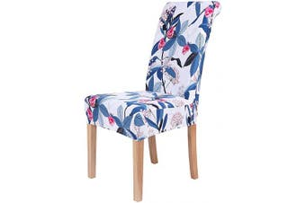 (2, Berries and Wild Flowers) - Colorxy Stretch Dining Room Chair Cover Spandex Removable Washable Floral Printing Chair Slipcover for Kitchen Living Room, Berries and Wild Flowers, Set of 2