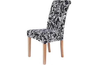 (6, Ornate Baroque) - Colorxy Stretch Dining Room Chair Cover Spandex Removable Washable Floral Printing Chair Slipcover for Kitchen Living Room, Ornate Baroque, Set of 6