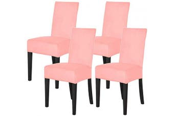 (Coral Red) - Mecerock Velvet Stretch Dining Room Chair Covers Soft Removable Dining Chair Slipcovers Set of 4 (Coral Red)