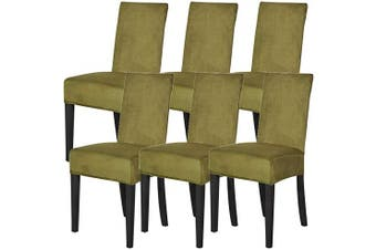 (Grass Yellow,6) - Mecerock Velvet Stretch Dining Room Chair Covers Soft Removable Dining Chair Slipcovers Set of 6 (Grass Yellow,6)
