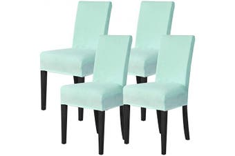 (Aqua Blue) - Mecerock Velvet Stretch Dining Room Chair Covers Soft Removable Dining Chair Slipcovers Set of 4 (Aqua Blue)