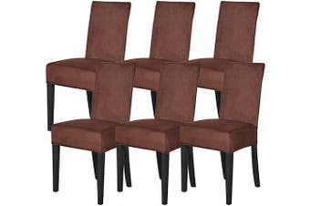 (Coffee,6) - Mecerock Velvet Stretch Dining Room Chair Covers Soft Removable Dining Chair Slipcovers Set of 6 (Coffee,6)