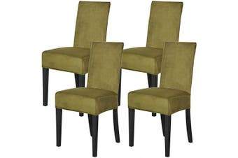 (Grass Yellow) - Mecerock Velvet Stretch Dining Room Chair Covers Soft Removable Dining Chair Slipcovers Set of 4 (Grass Yellow)