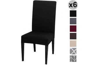 (6 per Set, Black) - Conniecony Stretch Dining Chair Covers, Spandex Fabric Fit Washable Removable Short Dining Chair Protector Cover for Dining Room, Hotel, Ceremony,Banquet Wedding Party (Black, 6 per Set)