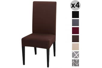 (4 per Set, Chocolate) - Conniecony Stretch Dining Chair Covers, Spandex Fabric Fit Washable Removable Short Dining Chair Protector Cover for Dining Room, Hotel, Ceremony,Banquet Wedding Party (Chocolate, 4 per Set)