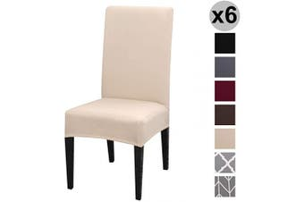 (6 per Set, Beige) - Conniecony Stretch Dining Chair Covers, Spandex Fabric Fit Washable Removable Short Dining Chair Protector Cover for Dining Room, Hotel, Ceremony,Banquet Wedding Party (Beige, 6 per Set)