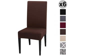 (6 per Set, Chocolate) - Conniecony Stretch Dining Chair Covers, Spandex Fabric Fit Washable Removable Short Dining Chair Protector Cover for Dining Room, Hotel, Ceremony,Banquet Wedding Party (Chocolate, 6 per Set)