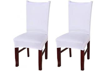 (2, Ccs002) - Coverurz Premium Stretch Fit Removable, Washable Spandex Dining Chair Covers, Seat Protector Slipcover for Dining Room, Hotel, Ceremony, Banquet and Wedding and Party (2 Per Set, CCS002_White)
