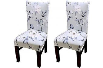 (2, Ccs011) - Coverurz Premium Stretch Fit Removable, Washable Spandex Dining Chair Covers, Seat Protector Slipcover for Dining Room, Hotel, Ceremony, Banquet and Wedding and Party (2 Per Set, CCS011_Rainwashed)