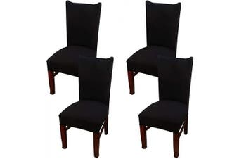 (4, Ccs001) - Coverurz Premium Stretch Fit Removable, Washable Spandex Dining Chair Covers, Seat Protector Slipcover for Dining Room, Hotel, Ceremony, Banquet and Wedding and Party (4 Per Set, CCS001_Black)