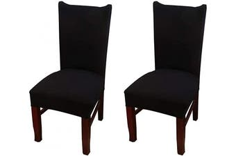 (2, Ccs001) - Coverurz Premium Stretch Fit Removable, Washable Spandex Dining Chair Covers, Seat Protector Slipcover for Dining Room, Hotel, Ceremony, Banquet and Wedding and Party (2 Per Set, CCS001_Black)
