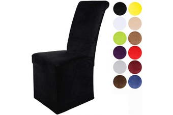(4, Black) - Colorxy Velvet Stretch Chair Covers for Dining Room, Soft Removable Long Solid Dining Chair Slipcovers Set of 4, Black