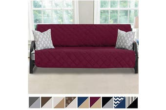 (180cm  Futon, Merlot/Sand) - MIGHTY MONKEY Premium Reversible Futon Slipcover, Seat Width to 180cm Furniture Protector, 5.1cm Elastic Strap, Washable Slip Cover for Futons, Protects from Kids, Dogs, Cats, Futon, Merlot Sand