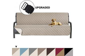 (Khaki/Beige) - Reversible Futon Sofa Slipcover Sofa Protector Cover, Seat Width Up to 180cm Washable Furniture Protector Features Elastic Strap , Futon Cover - Great for Home with Kids and Pets, Futon, Khaki