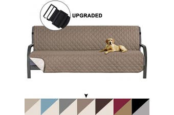 (Taupe/Beige) - Turquoize Futon Sofa Slipcover Reversible Sofa Cover Furniture Protector Water Resistant Futon Slipcover, Futon Protector, Machine Washable Furniture Cover for Kids, Dogs, Cats, Futon, Stone Blue