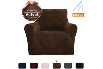 (Small, Coffee) - ACOMOPACK Sofa Cover for Couch Velvet Stretch Couch Cover Recliner Chair Cover Couch Slip Covers (Chair, Coffee)