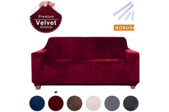(Medium, Wine Red) - ACOMOPACK Sofa Cover for 2 Cushion Couch Velvet Stretch Couch Cover Recliner Chair Cover Couch Slip Covers for Furniture Sofa Loveseat Cover Protector for Dogs (Loveseat, Wine red)