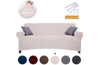 (Large, Beige) - ACOMOPACK Premium Velvet Sofa Cover, Sofa Slipcovers for 3 Cushion Couch Velvet High-Stretch Couch Cover, Couch Slipcovers for Furniture Sofa Cover Protector (Sofa, Beige)