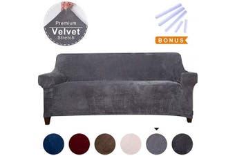 (Large, Gray) - ACOMOPACK Premium Velvet Sofa Cover (Grey, Large)