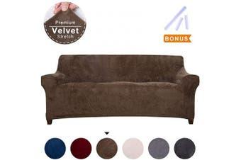 (Large, Coffee) - ACOMOPACK Premium Velvet Sofa Cover, Sofa Slipcovers for 3 Cushion Couch Velvet High-Stretch Couch Cover, Couch Slipcovers for Furniture Sofa Cover Protector (Sofa, Coffee)