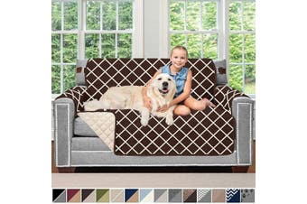 (140cm  Loveseat, Diamond: Chocolate/Beige) - Sofa Shield Original Patent Pending Reversible Loveseat Protector for Seat Width up to 140cm , Furniture Slipcover, 5.1cm Strap, Couch Slip Cover Throw for Pets, Love Seat, Diamond Chocolate Beige