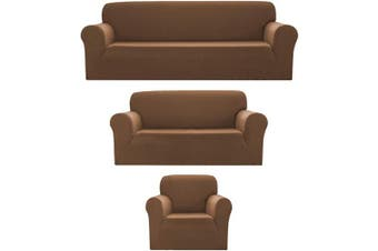 (3pc (Sofa, Loveseat, Chair), Brown) - Bedding Haus 3pc Couch Slip Cover Set (Sofa, Loveseat, Chair), Stretch Form-fit, Furniture Protector, Plaid Pattern, Premium Polyester/Spandex, Daisy, 3pc Brown