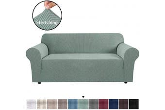 (Large, Sage) - H.VERSAILTEX Stretch Sofa Covers Couch Cover Furniture Protector Sofa Slipcover 1-Piece Feature High Spandex Textured Lycra Small Cheques Jacquard Fabric with Elastic Bottom(Sofa 180cm - 240cm Wide: Sage)