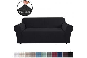 (Large, Jet Black) - H.VERSAILTEX Stretch Sofa Covers Couch Cover Furniture Protector Sofa Slipcover 1-Piece Feature High Spandex Textured Lycra Small Cheques Jacquard Fabric with Elastic Bottom(Sofa 180cm - 240cm Wide: Black)