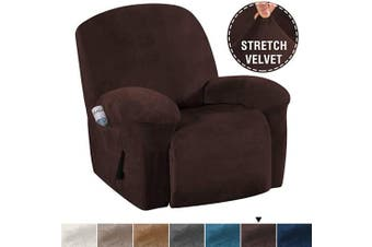 (Brown) - H.VERSAILTEX Stretch Recliner Covers with Pockets 1-Piece Recliner Chair Slipcovers Furniture Cover for Recliner Couch Cover Velvet Plush Slipcover Anti-Slip Slipcover Highly Fitness(Recliner, Brown)