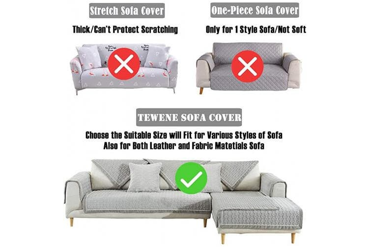 (1pc/90cm  x 240cm /Rectangular, Grey-2) - TEWENE Sofa Cover, Velvet Couch Cover Anti-Slip Sectional Couch Covers Sofa Slipcover for Dogs Cats Pet Love Seat Recliner Armrest Backrest Cover Grey (Sold by Piece/Not All Set)