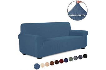 (1 Piece, XL Sofa, Denim Blue) - TIANSHU Stretch Jacquard Couch Cover, 1-Piece Couch Cover for Sofa, 4 Cushions Sofa Slipcover for Living Room, Soft/Durable/Stay in Place Furniture Covers (XL Sofa, Denim Blue)