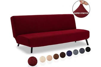 (1 Piece, Futon, Dark Wine) - TIANSHU Armless Sofa Cover, Stretch Sofa Bed Cover , Anti-Slip Protector for Couch Without Armrests, Spandex Jacquard Fabric Slipcover Futon Cover (Futon, Dark Wine)