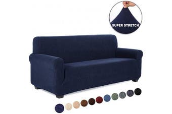 (1 Piece, Sofa, Navy Blue) - TIANSHU Stretch Jacquard Couch Cover, 1-Piece Couch Cover for Sofa, 3 Cushion Sofa Slipcover for Living Room, Soft/Durable/Stay in Place Furniture Covers (Sofa, Navy Blue)