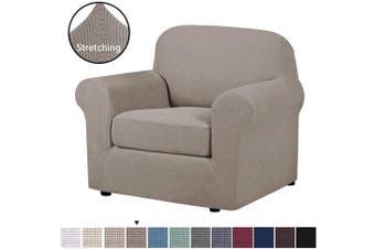 (Taupe) - H.VERSAILTEX Stretch Chair Slipcovers 2 Pieces Armchair Cover Furniture Protector Chair Covers for Living Room Fit Chair Width Up to 120cm , Jacquard Lycra High Spandex Fabric(Chair, Taupe)