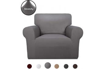 (Light Gray) - PureFit Super Stretch Chair Sofa Slipcover – Spandex Non Slip Soft Couch Sofa Cover, Washable Furniture Protector with Non Skid Foam and Elastic Bottom for Kids, Pets (Chair,Light Grey)