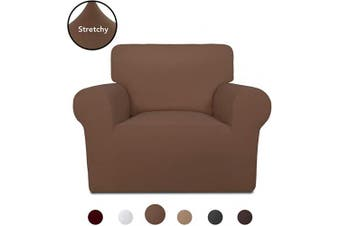 (Brown) - PureFit Super Stretch Chair Sofa Slipcover – Spandex Non Slip Soft Couch Sofa Cover, Washable Furniture Protector with Non Skid Foam and Elastic Bottom for Kids, Pets (Chair, Brown)