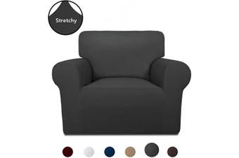 (Dark Gray) - PureFit Super Stretch Chair Sofa Slipcover – Spandex Non Slip Soft Couch Sofa Cover, Washable Furniture Protector with Non Skid Foam and Elastic Bottom for Kids, Pets (Chair, Dark Grey)
