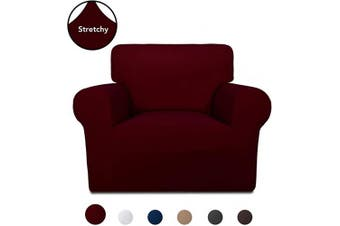 (Wine) - PureFit Super Stretch Chair Sofa Slipcover – Spandex Non Slip Soft Couch Sofa Cover, Washable Furniture Protector with Non Skid Foam and Elastic Bottom for Kids, Pets (Chair, Wine)