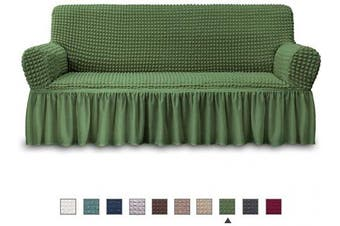 (SOFA, Olive) - NICEEC Sofa Slipcover Green Sofa Cover 1 Piece Easy Fitted Sofa Couch Cover Universal High Stretch Durable Furniture Protector with Skirt Country Style (3 Seater Olive)