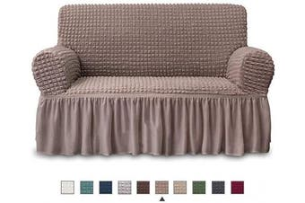 (LOVESEAT, Coffee) - NICEEC Loveseat Slipcover Coffee Loveseat Cover 1 Piece Easy Fitted Sofa Couch Cover Universal High Stretch Durable Furniture Protector Love Seat with Skirt Country Style (2 Seater Coffee)
